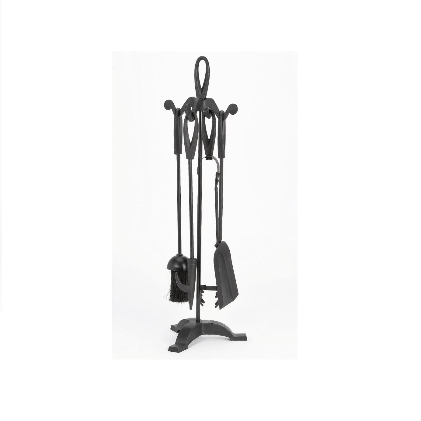 Bakaware Warwick - Juego de accesorios para chimenea en soporte (hierro fundido, 55,8 cm), color negro