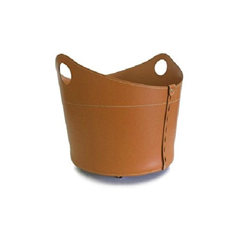 CADIN: Bolso, cesta para leña o pellets, en cuero regenerado color Marròn, equipado con 4 ruedas de goma.