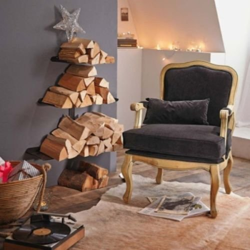 Dandibo soporte para leña de chimenea de madera estante negro metalico