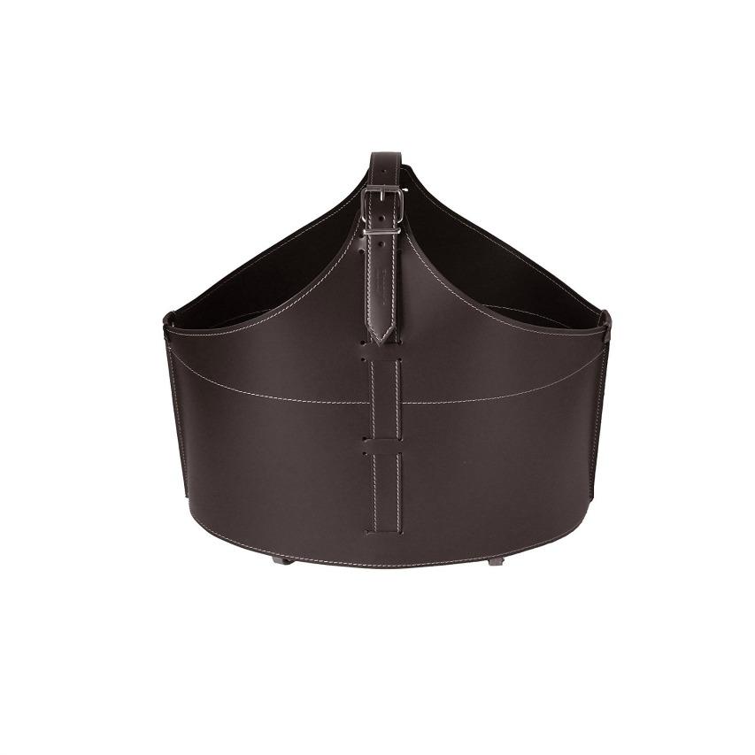 FABIA Bolso, cesta para leña o pellets, en cuero regenerado color Marròn oscuro, equipado con 4 ruedas de goma