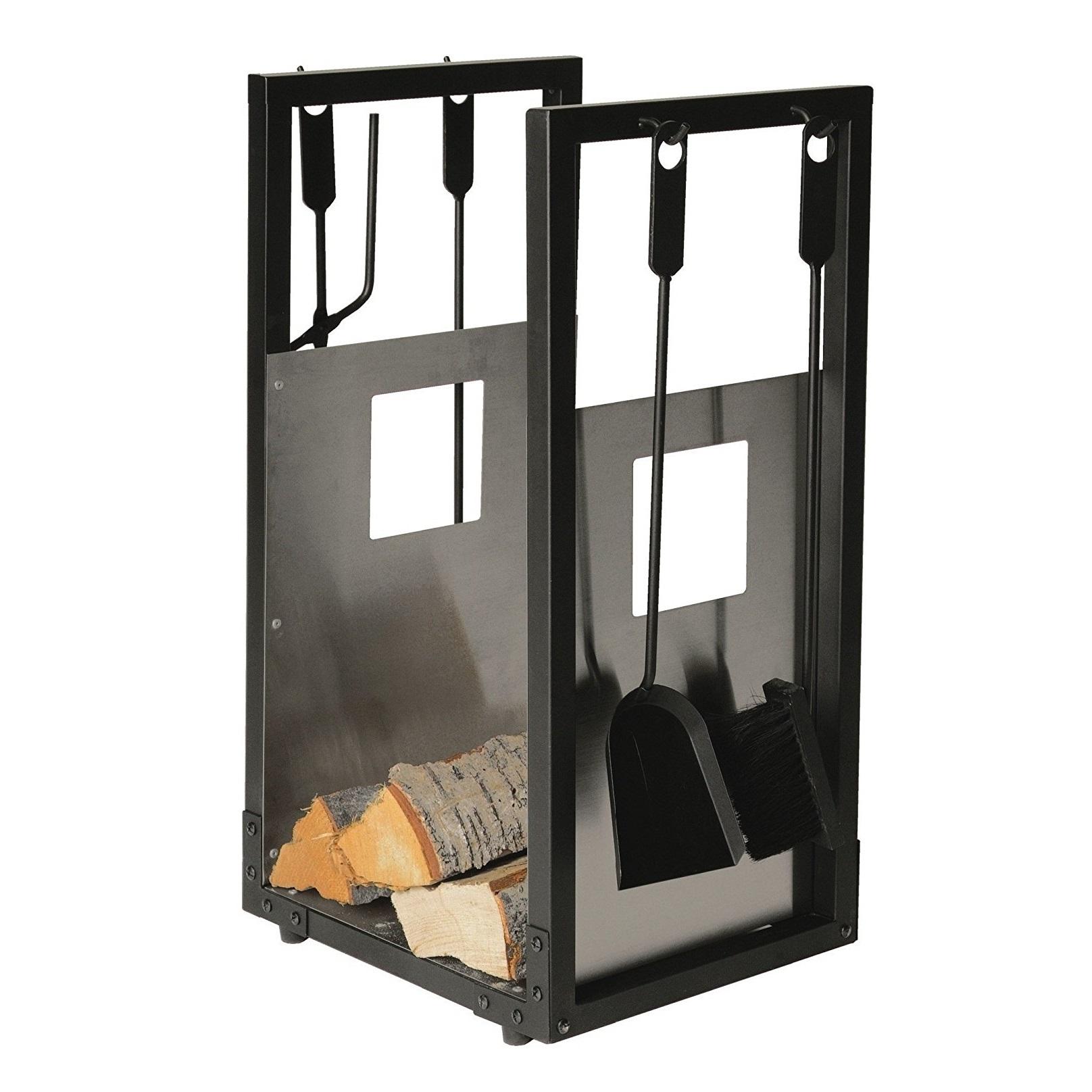 Lienbacher 738.2 Accesorios para chimenea y cesta para leña (pieza de acero inoxidable), color negro