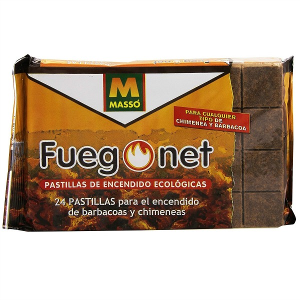 Massó - Fuegonet - Pastillas de encendido ecológicas para barbacoas y chimeneas - 24 unidades