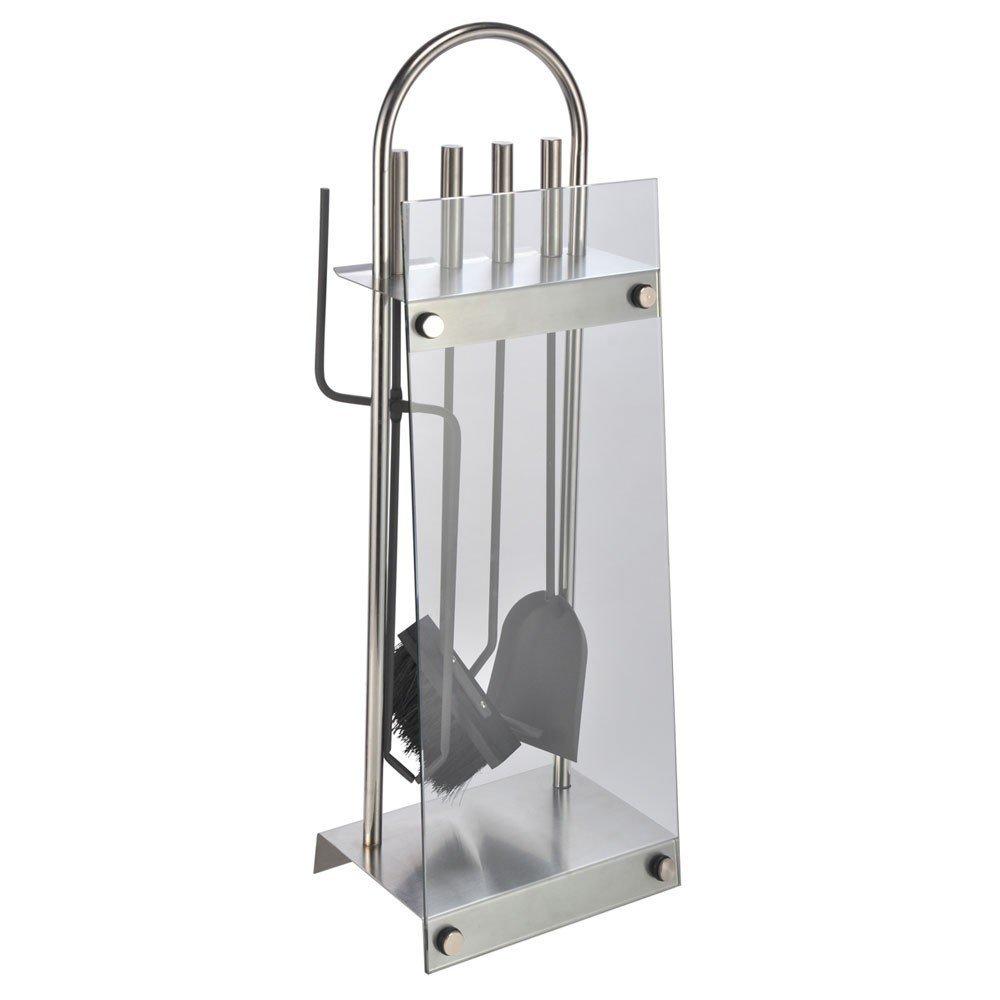 McTronix - Soporte y juego de utensilios para chimeneas (5 piezas) Fabricado en acero inoxidable y cristal.