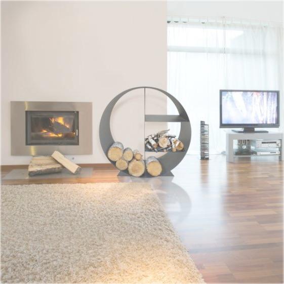 Purline porta leña circular con estantes