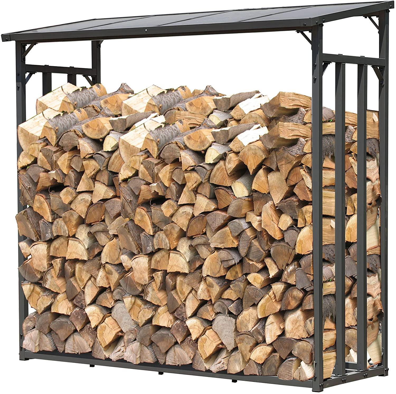 Quick Star Metal chimenea madera estante antracita 143 x 70 x 145 cm