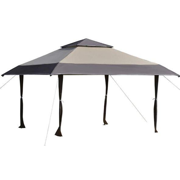 Outsunny Cenador Plegable 4x4 m Carpa de jardín con Doble Techo Altura Ajustable con Bolsa de Transporte